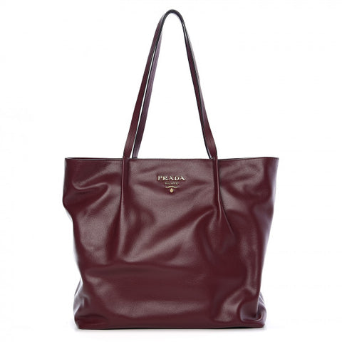 PRADA Burgundy Red Leather Tote Bag