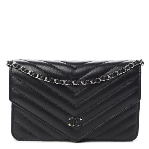 CHANEL Black Chevron Leather Wallet On A Chain Shoulder Bag