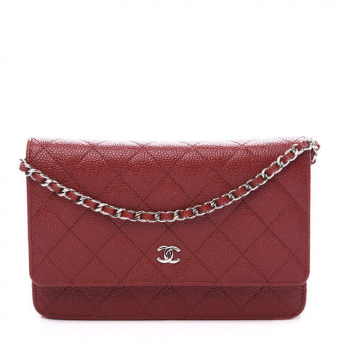 CHANEL Red Caviar Quilted Wallet On A Chain Shoulder Bag