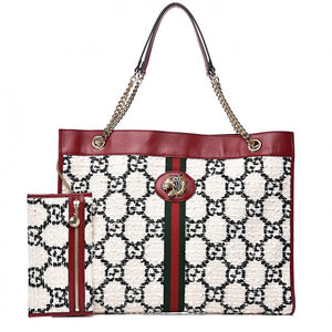 GUCCI White Monogram Tweed Rajah Tote Bag