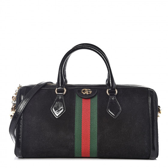 GUCCI Black Suede & Leather Ophidia Top Handle Handbag