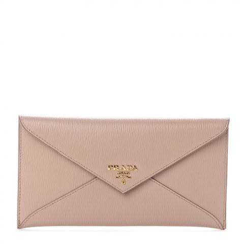 PRADA Beige Leather Envelope Wallet