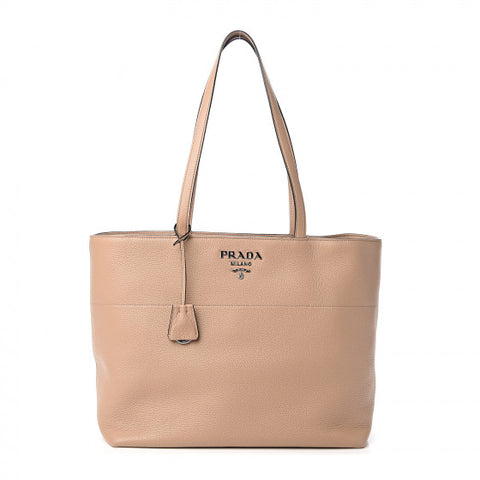 PRADA Beige Cammeo Leather Tote Bag