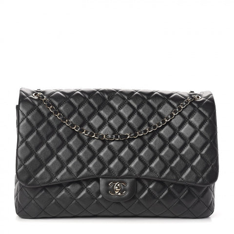 CHANEL Black Quilted Leather Jumbo Travel Flap Shoulder Bag