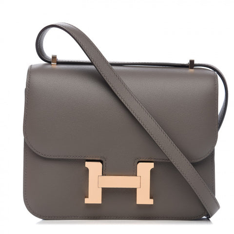 HERMES Dark Gray Leather Constance 18 Shoulder Bag