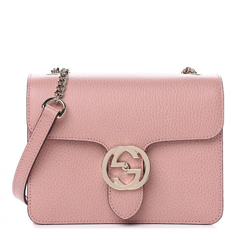 GUCCI Pink Leather Interlocking G Shoulder Bag