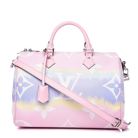 LOUIS VUITTON Pastel Pink Escale Speedy 30 Bandouliere Shoulder Bag