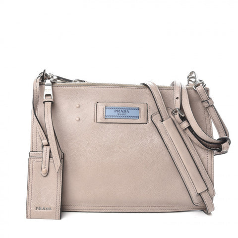 PRADA Beige Leather Double Zip Crossbody Bag