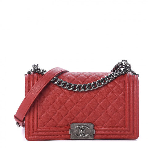CHANEL Red Caviar Quilted Boy Flap Shoulder Bag