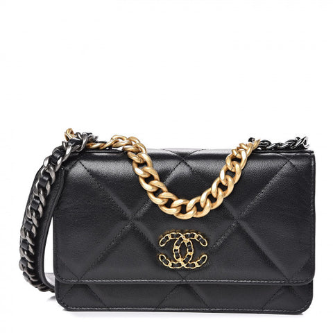 CHANEL Black Quilted 19 Wallet On A Chain Shoulder Bag