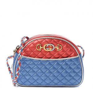 GUCCI Red & Blue Quilted Leather Shoulder Bag