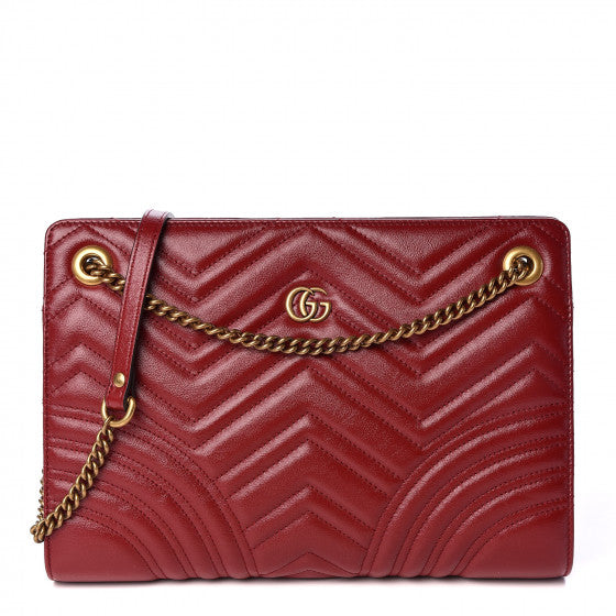 GUCCI Cherry Red Chevron Leather Marmont Shoulder Bag