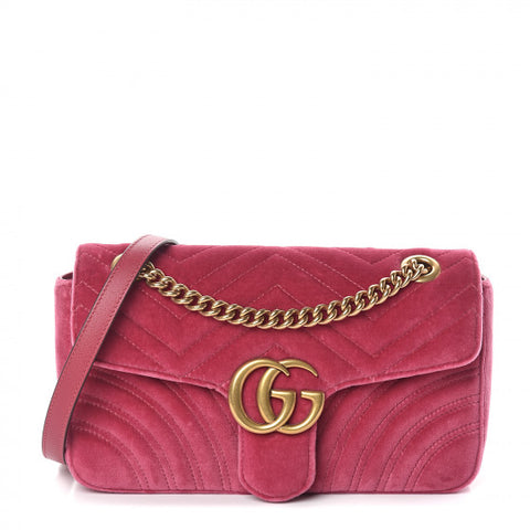 GUCCI Pink Velvet & Leather Marmont Shoulder Bag