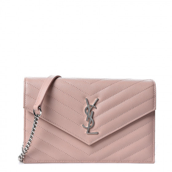 YVES SAINT LAURENT Light Pink Chevron Leather Wallet Crossbody Bag