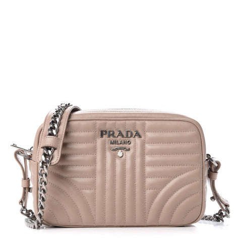 PRADA Beige Quilted Leather Diagramme Shoulder Bag