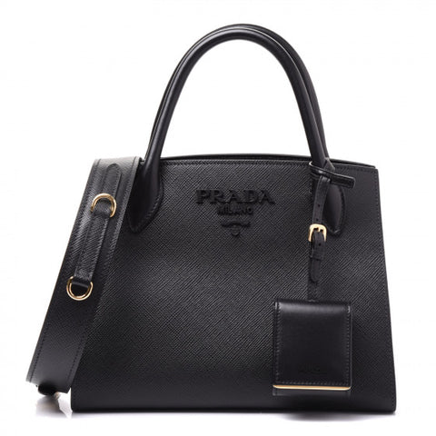PRADA Black Saffiano Leather Top Handle Shoulder Bag