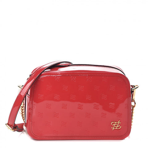 FENDI Red Patent Leather Karligraphy Crossbody Bag