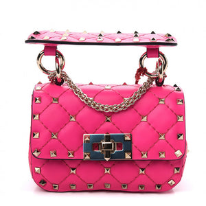 VALENTINO Pink Leather Micro Rockstuds Shoulder Bag