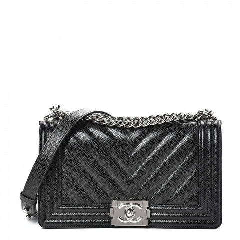 CHANEL Black Chevron Leather Boy Flap Shoulder Bag