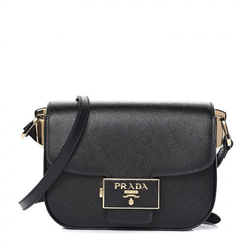 PRADA Black Saffiano Leather Saddle Shoulder Bag