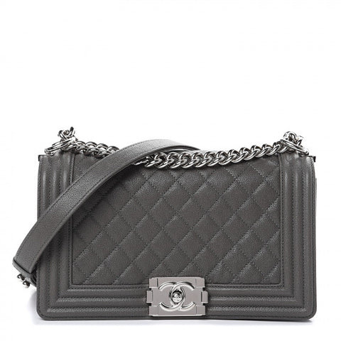 CHANEL Gray Caviar Quilted Leather Boy Flap Shoulder Bag