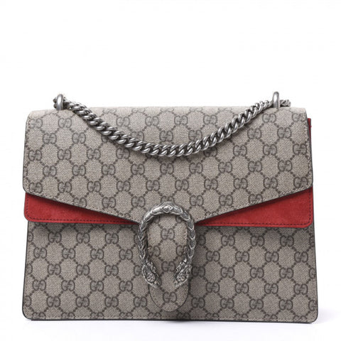 GUCCI Supreme Monogram & Red Leather Medium Dionysus Bag