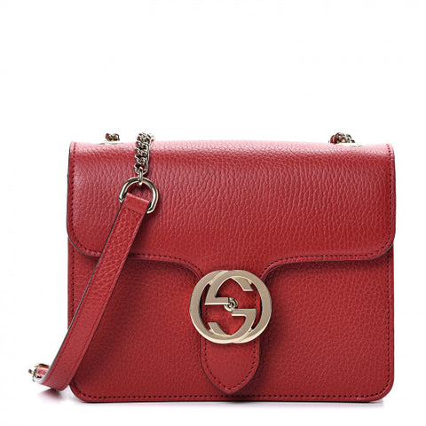 GUCCI Red Leather Interlocking G Shoulder Bag