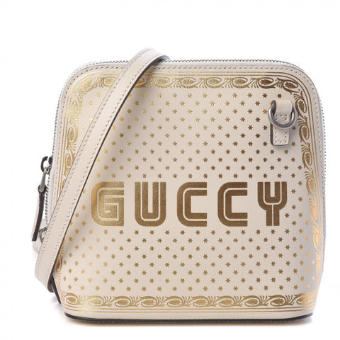 GUCCI White & Gold Stars Leather Crossbody Bag