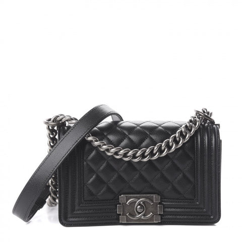 CHANEL Black Caviar Quilted Boy Flap Small Shoulder Bag