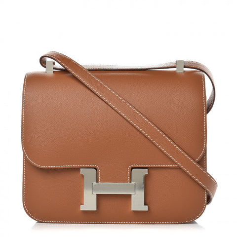 HERMES Brown Leather Constance 24 Shoulder Bag