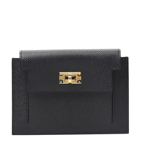 HERMES Black Leather Epsom Kelly Compact Wallet