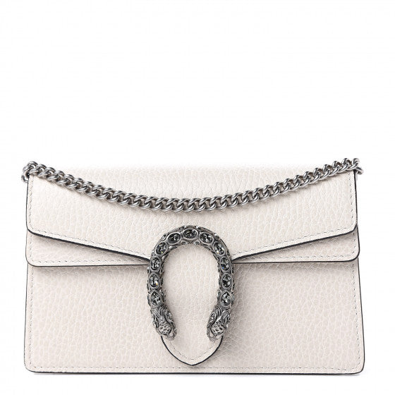 GUCCI White Leather Super Mini Dionysus Shoulder Bag