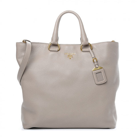 PRADA Gray Leather Vitello Daino Tote Bag