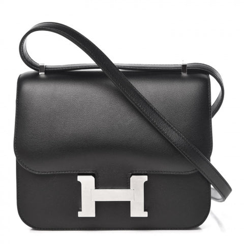 HERMES Black Swift Leather Constance 18 Shoulder Bag