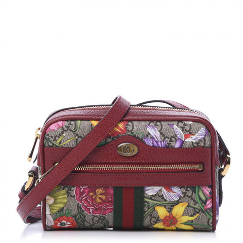 GUCCI Supreme Flora & Red Leather Ophidia Shoulder Bag