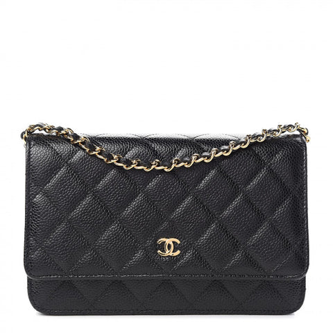CHANEL Black Caviar Quilted Leather Wallet On A Chain Shoulder Bag