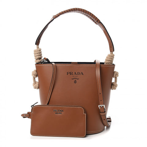 PRADA Brown Leather Bucket Tote Bag