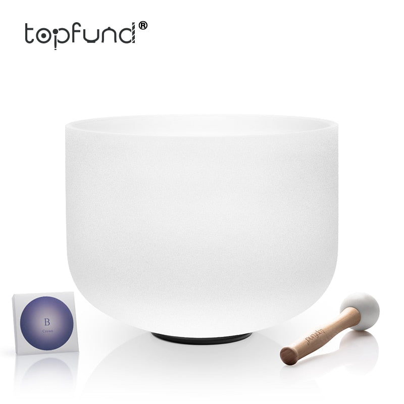 TOPFUND 432hz/perfect pitch Tuned B Note Crown Chakra Frosted Quartz Crystal Singing Bowl 12