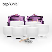 "Load image into Gallery viewer, TOPFUND 8""-14"" 432hz Chakra Set of 7pcs Frosted Quartz Crystal Singing Bowls"
