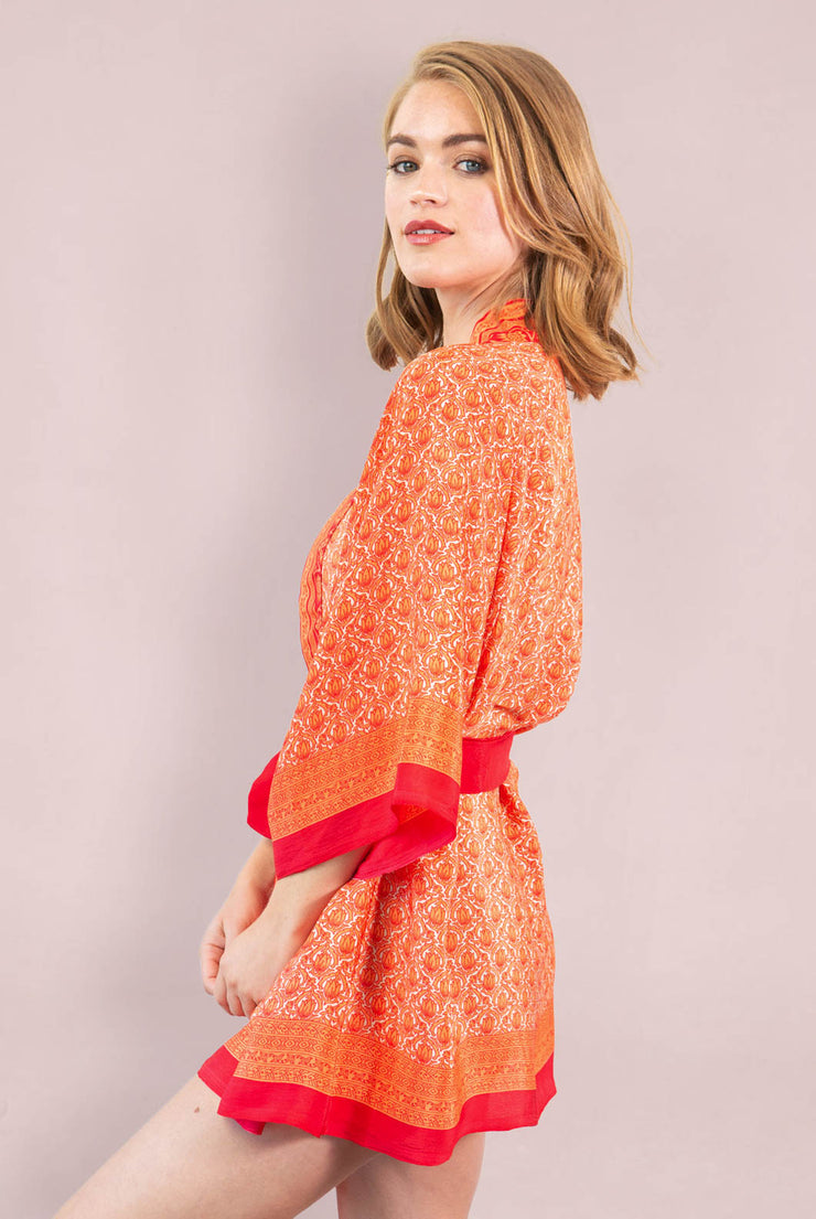 Orange Lotus Short Robe