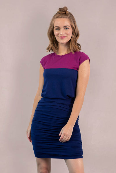 Ashton Shirred Pencil Skirt - Navy