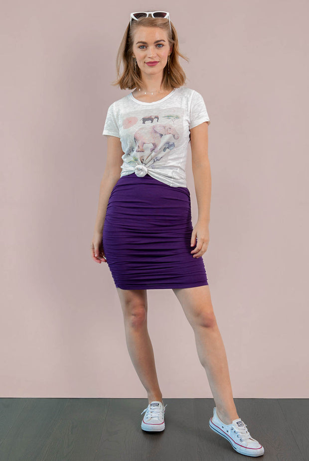 Ashton Shirred Pencil Skirt - Blackberry