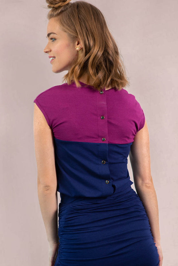 Chloe Back Button Up - Navy Magenta