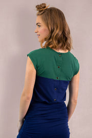 Chloe Back Button Up - Green Navy