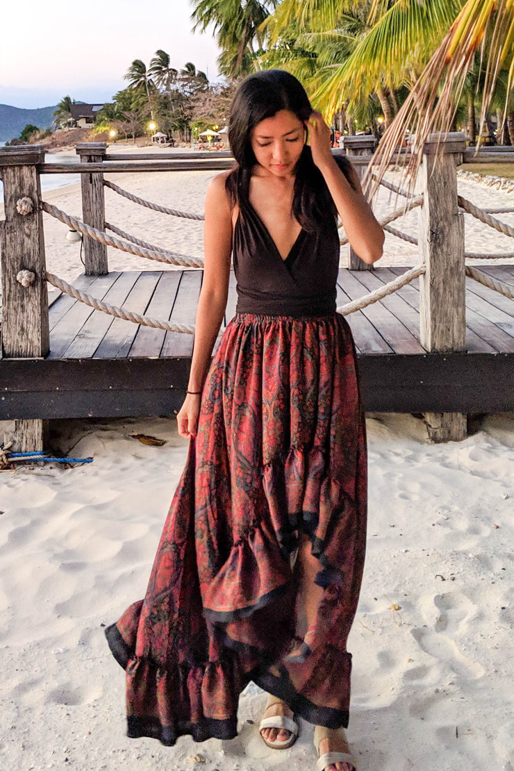 Maria Hi Low Maxi Skirt - Black Paisley