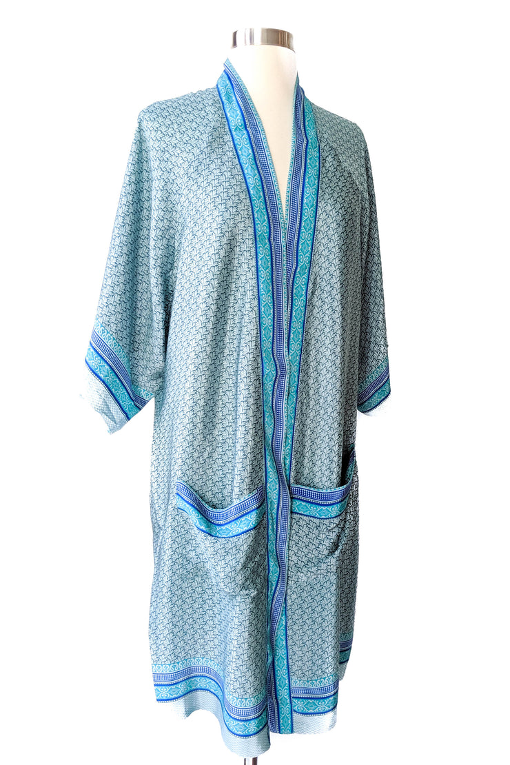 Light Blue Feather Duster Robe
