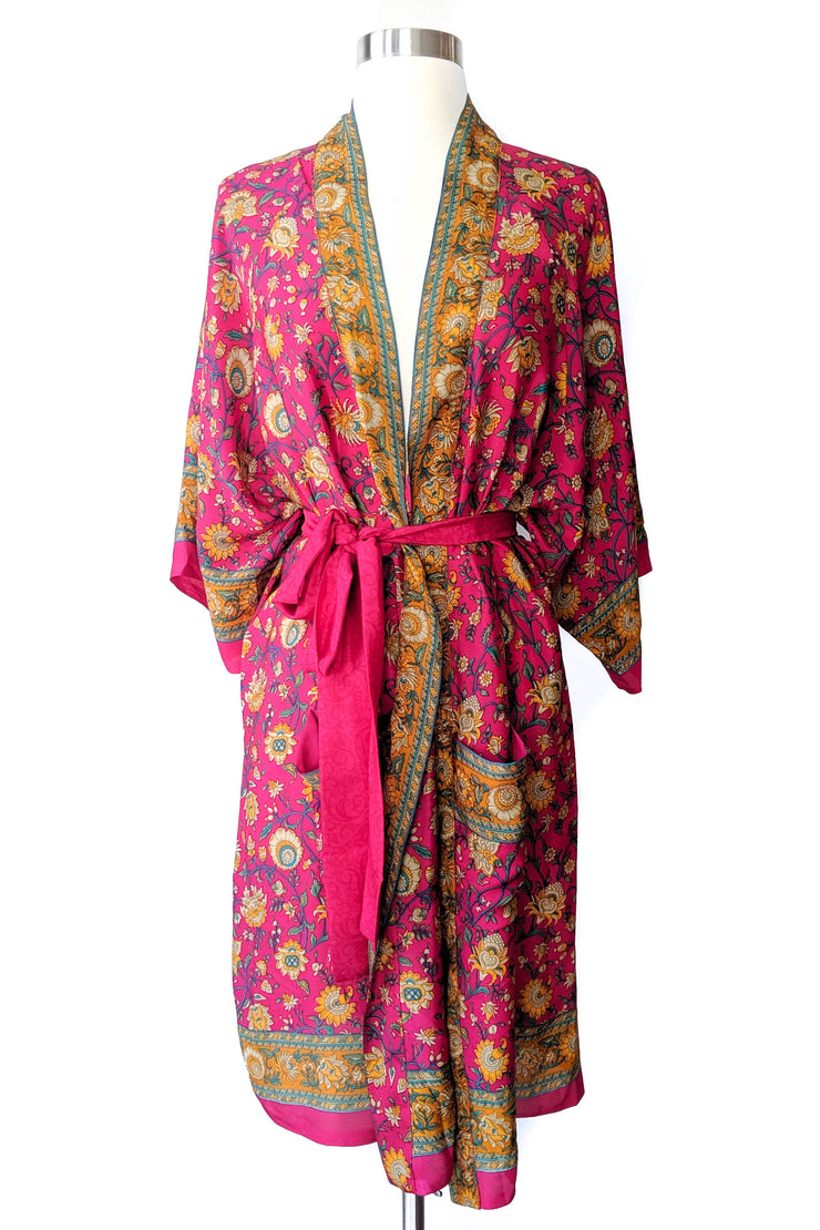 Hot Pink Golden Floral Robe