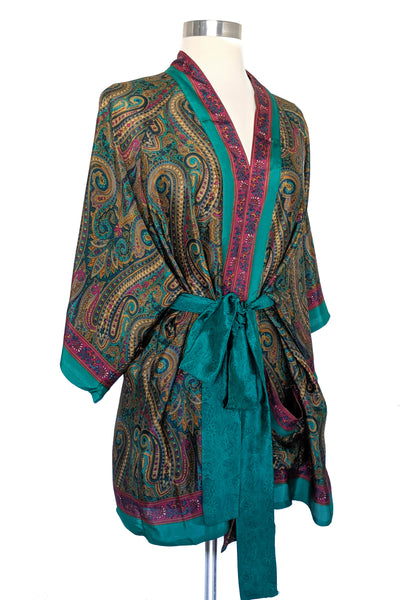 Dark Green Paisley Wrap, Short