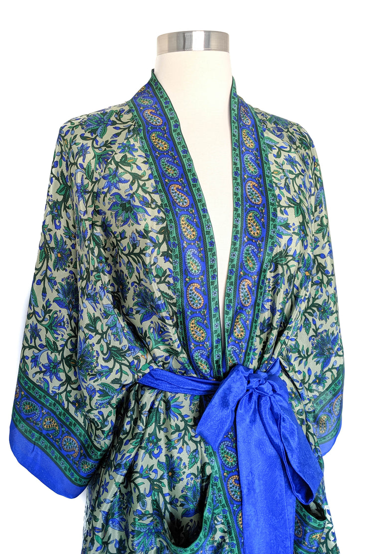 French Green Floral Robe, Short