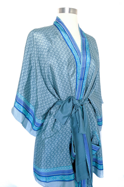 Blue Convertible Wrap Robe, Short
